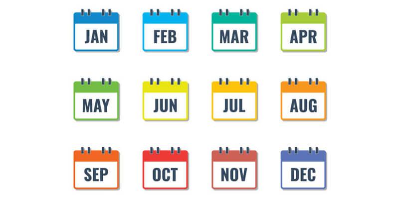 ترتيب شهور السنة الميلادية ال 12